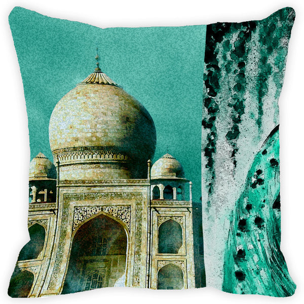 Leaf Designs Taj Mahal Teal Cushion Cover