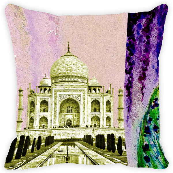 Leaf Designs Taj Mahal Violet & Green Cushion Cover