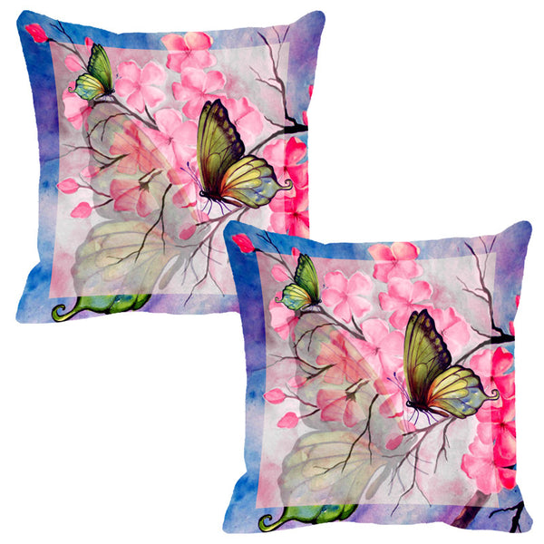 Leaf Designs Pink & Blue Butterfly Cushion Cover - Set Of 2