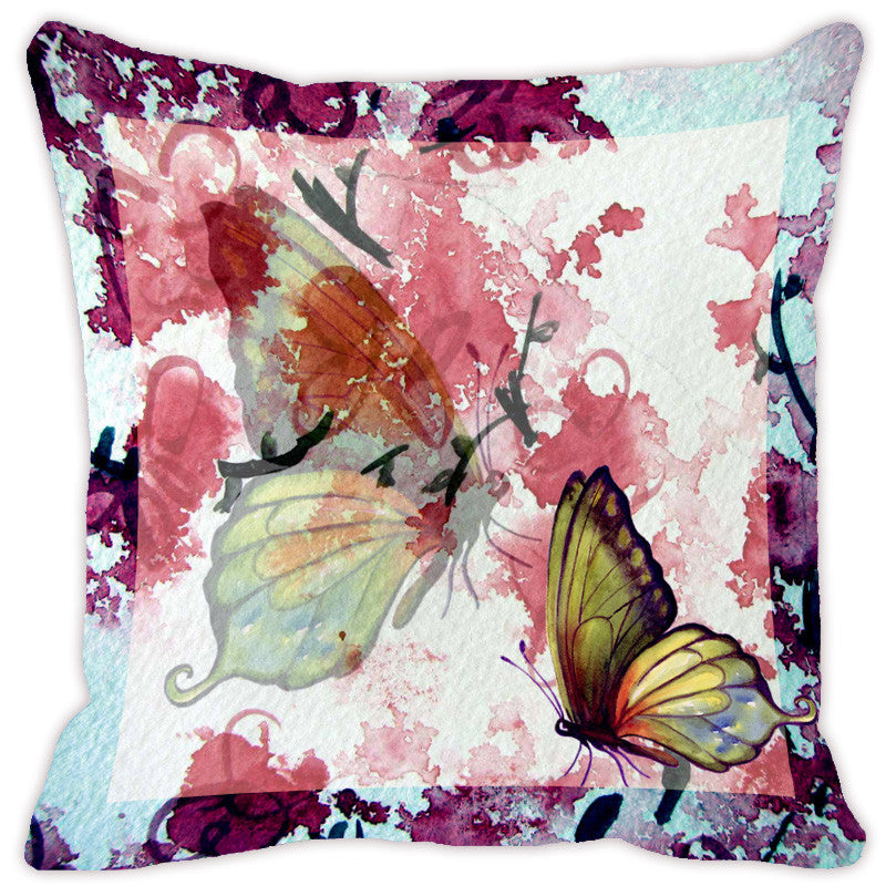 Leaf Designs Light Blue Butterfly Cushion Cover - Set Of 2