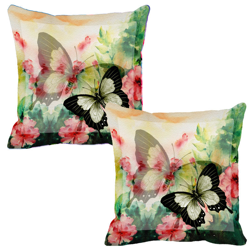 Leaf Designs Light Yellow Butterfly Cushion Cover - Set Of 2