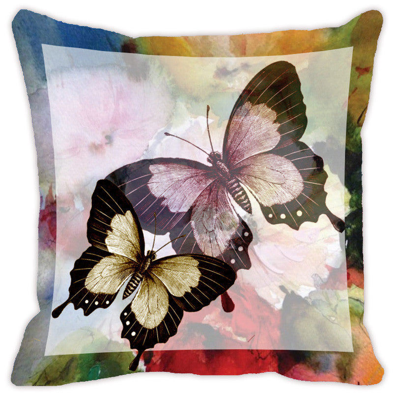Leaf Designs Lemon Butterfly Cushion Cover - Set Of 2