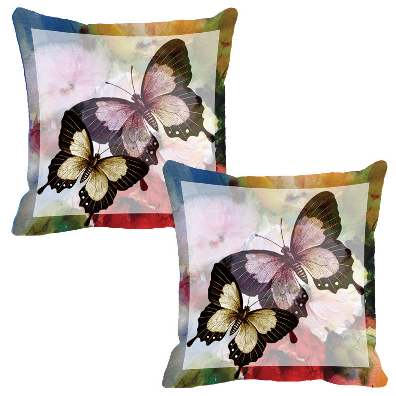 Leaf Designs Light Grey Butterfly Cushion Cover - Set Of 2