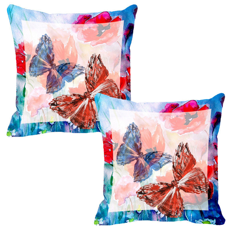 Leaf Designs Light Blue & Peach Butterfly Cushion Cover - Set Of 2