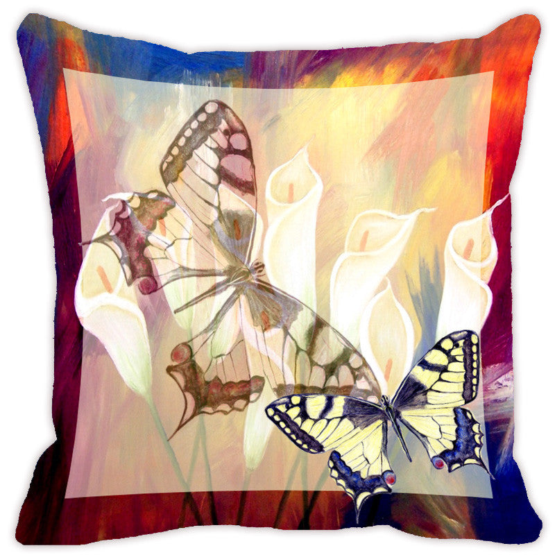 Leaf Designs Blue & Red Butterfly Cushion Cover - Set Of 2
