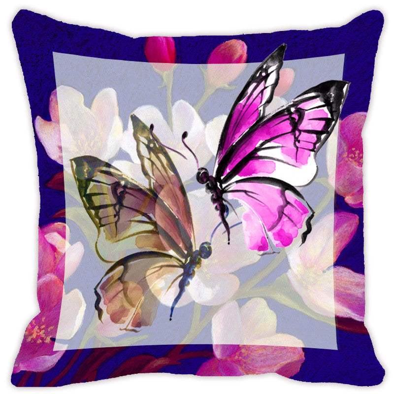Leaf Designs Light Purple Butterfly Cushion Cover - Set Of 2