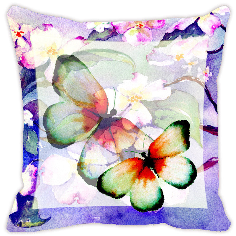 Leaf Designs Purple Butterfly Cushion Cover - Set Of 2