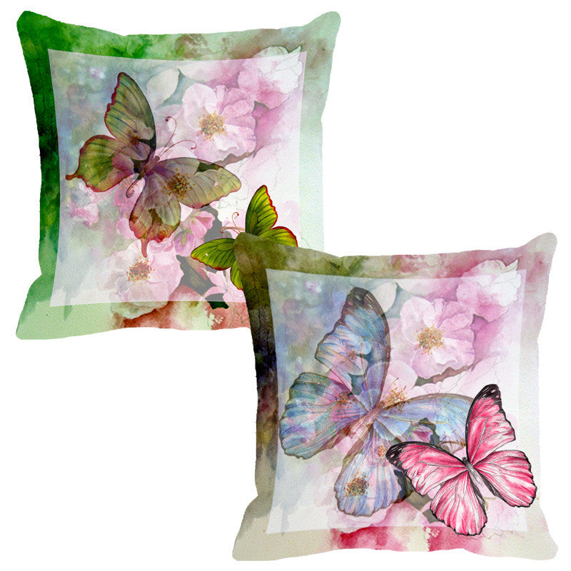 Leaf Designs Green Butterfly Cushion Cover - Set Of 2