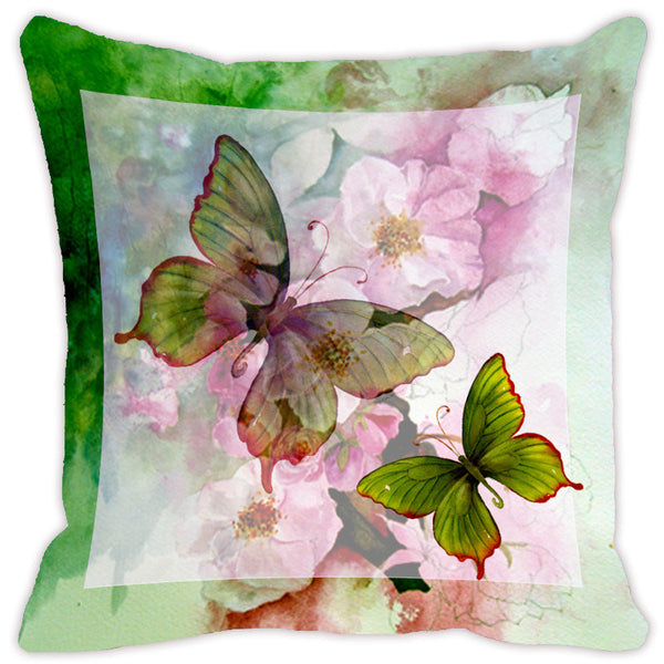Leaf Designs Light Green Butterfly Cushion Cover - Set Of 2