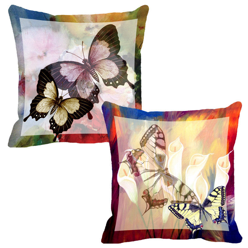 Leaf Designs Red & Yellow Butterfly Cushion Cover - Set Of 2