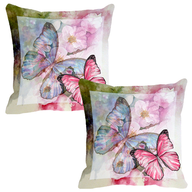Leaf Designs Light Green & Pink Butterfly Cushion Cover - Set Of 2