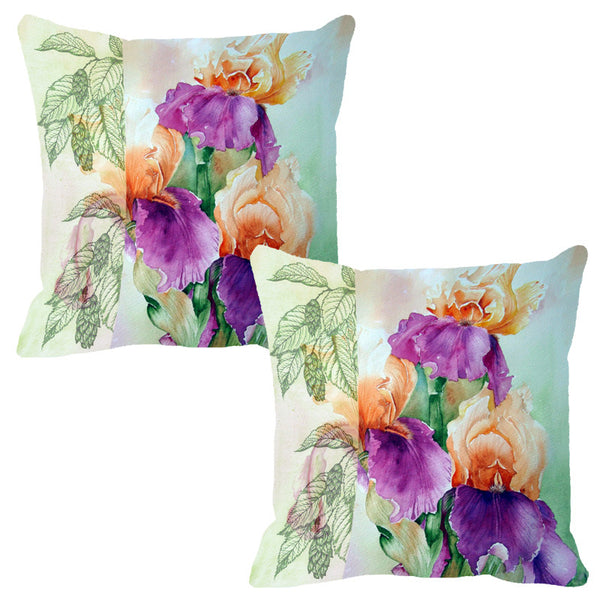 Leaf Designs Light Green & Peach Flora Cushion Cover - Set Of 2