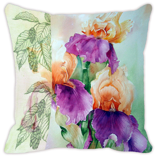 Leaf Designs Purple & Red Flora Cushion Cover - Set Of 2