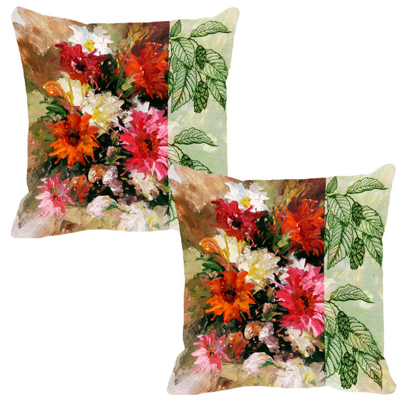 Leaf Designs Brown & Red Flora Cushion Cover - Set Of 2