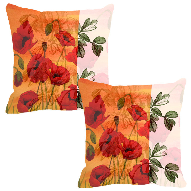 Leaf Designs Peach & Red Flora Cushion Cover - Set Of 2