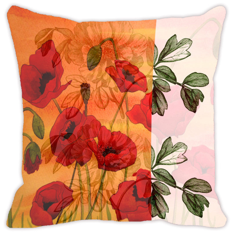 Leaf Designs Orange & Green Flora Cushion Cover - Set Of 2