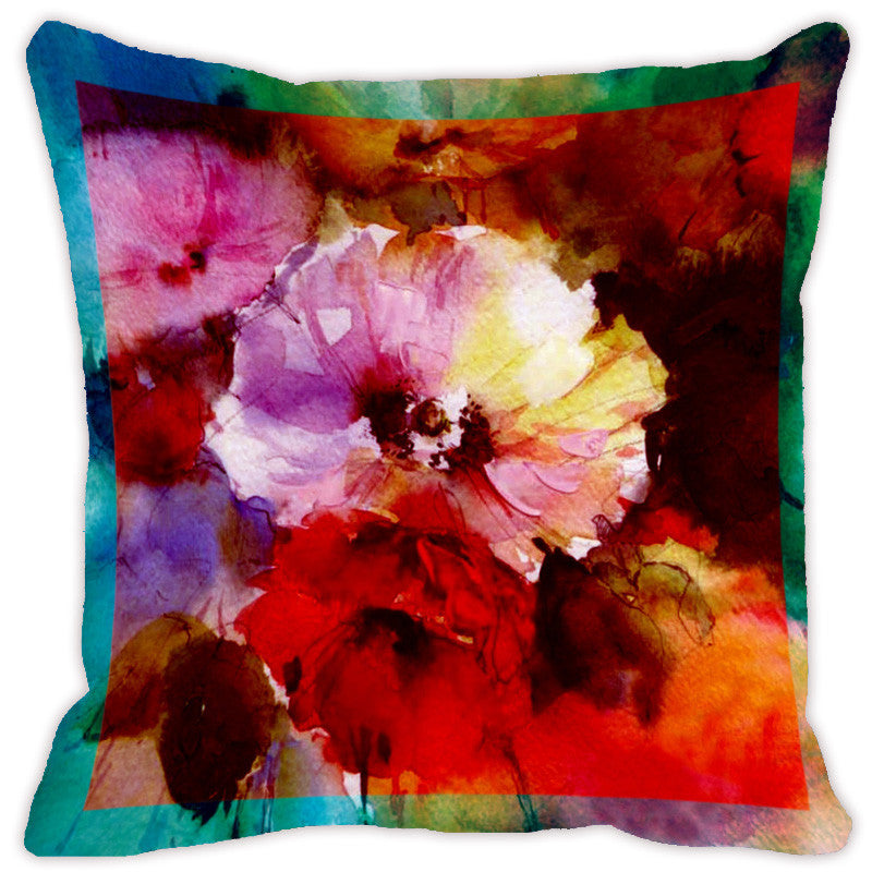 Leaf Designs Blue & Red Flora Cushion Cover - Set Of 2