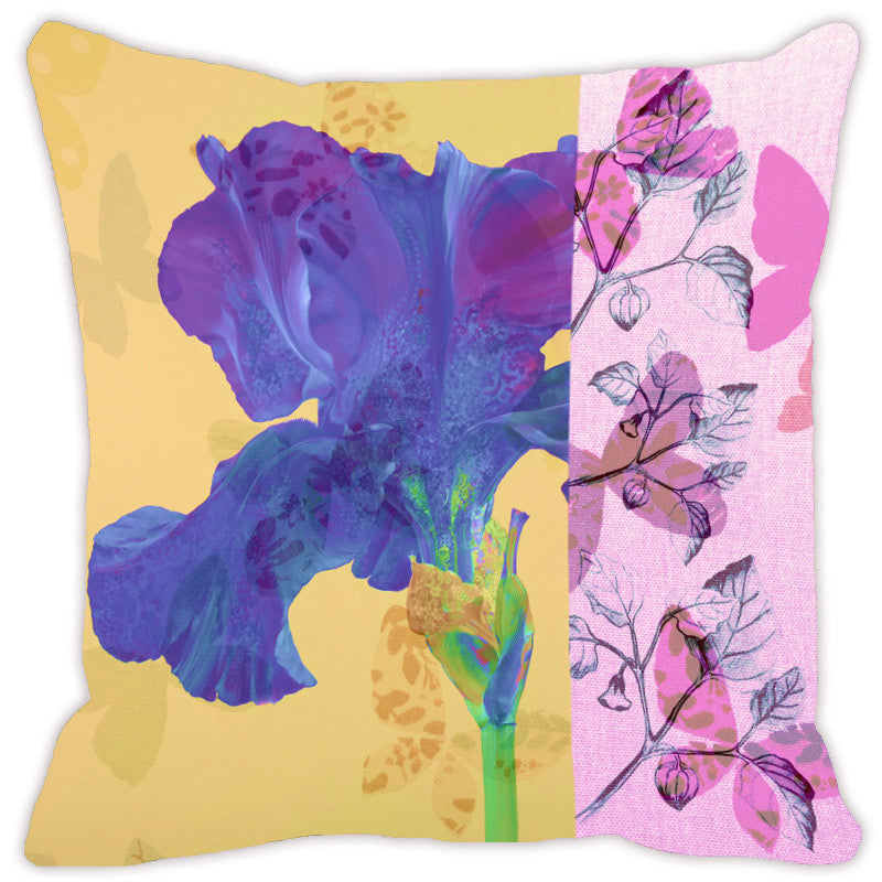 Leaf Designs Lemon & Blue Flora Cushion Cover - Set Of 2