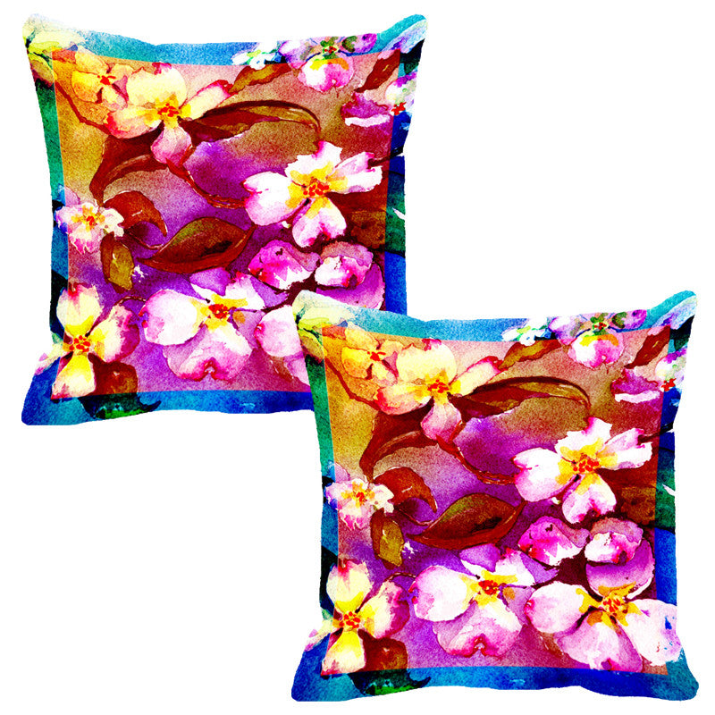 Leaf Designs Hot Pink Flora Cushion Cover - Set Of 2