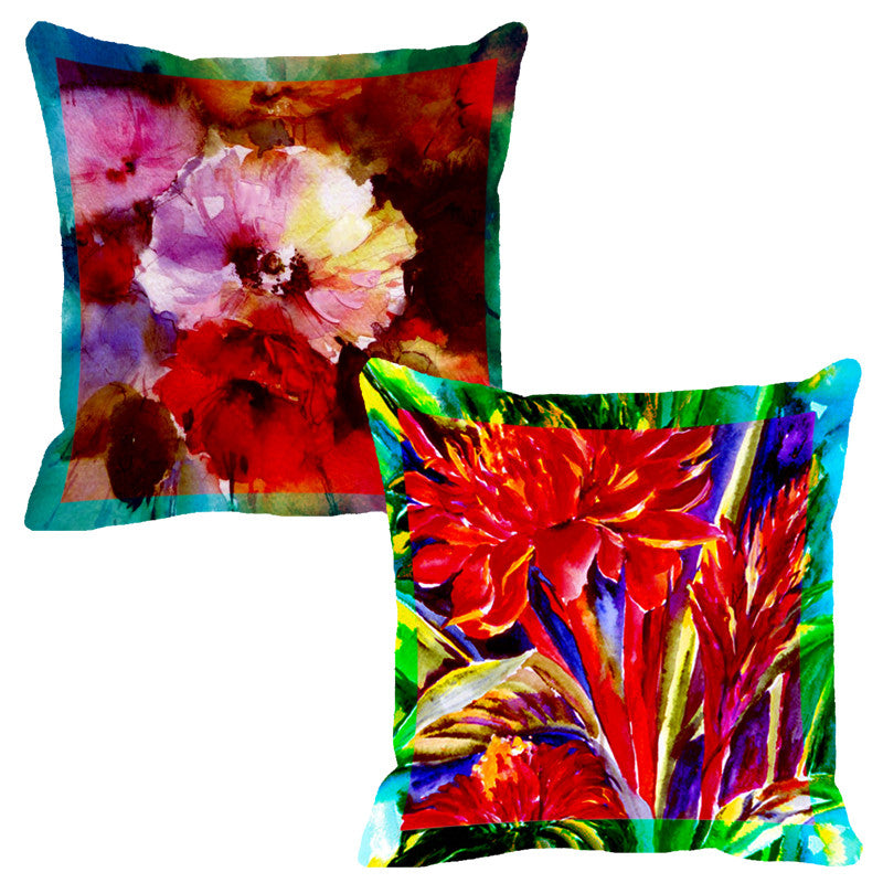 Leaf Designs Red & Orange Flora Cushion Cover - Set Of 2
