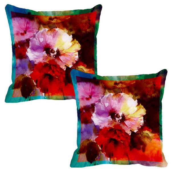 Leaf Designs Deep Red Flora Cushion Cover - Set Of 2