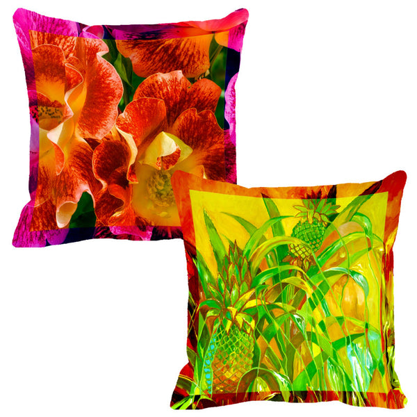 Leaf Designs Pink & Orange Flora Cushion Cover - Set Of 2
