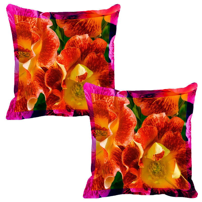 Leaf Designs Fiery Orange Flora Cushion Cover - Set Of 2