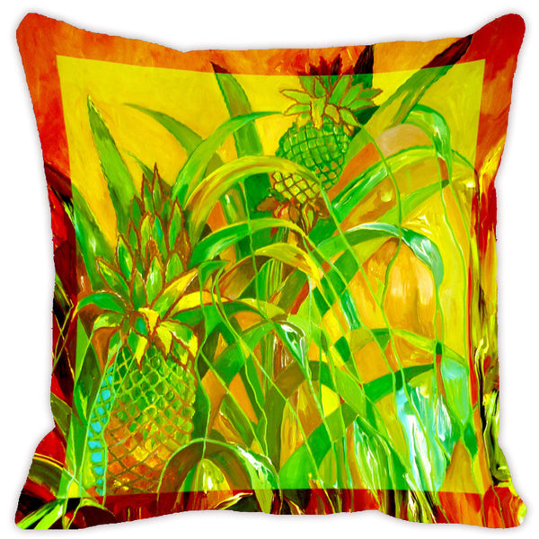 Leaf Designs Bright Yellow & Green Flora Cushion Cover - Set Of 2