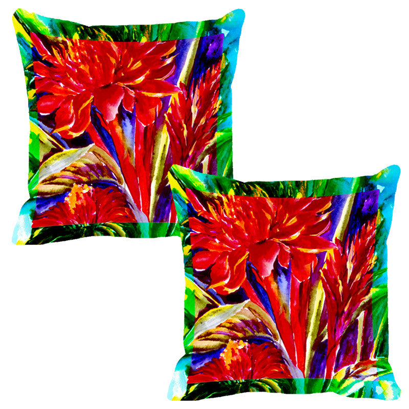 Leaf Designs Bright Red Flora Cushion Cover - Set Of 2