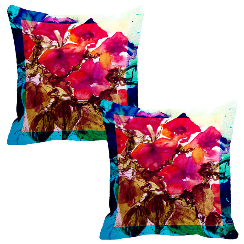 Leaf Designs Bright Pink & Brown Flora Cushion Cover - Set Of 2