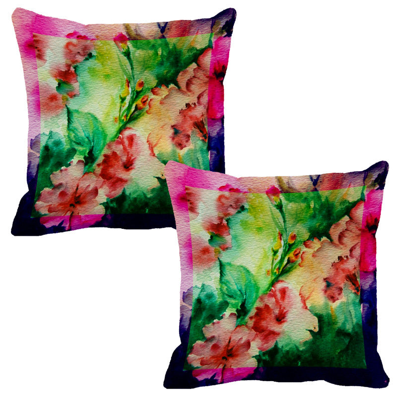 Leaf Designs Pink & Bright Green Flora Cushion Cover - Set Of 2