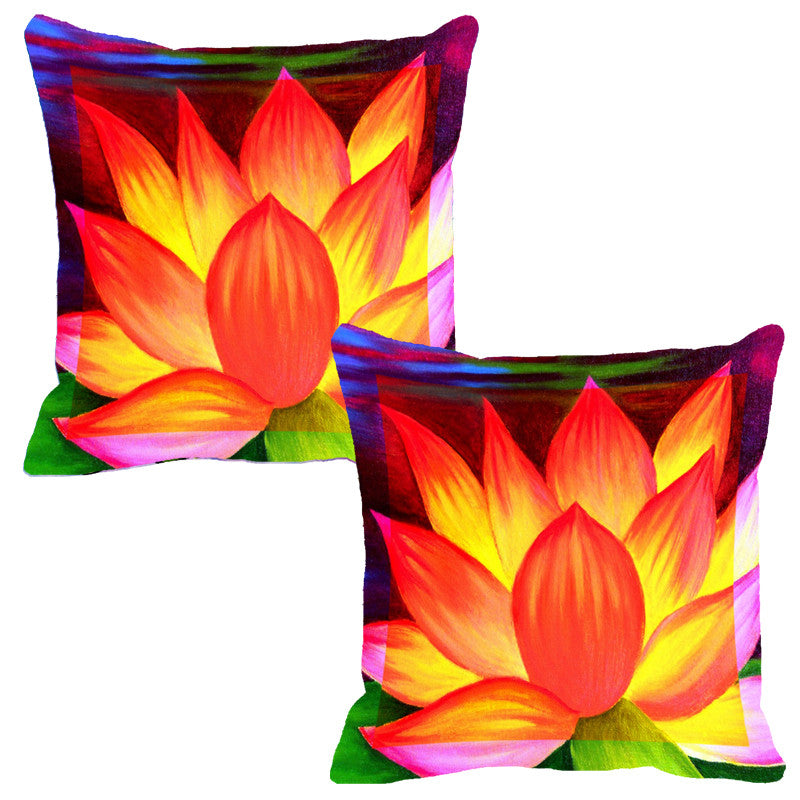 Leaf Designs Flame Orange Flora Cushion Cover - Set Of 2