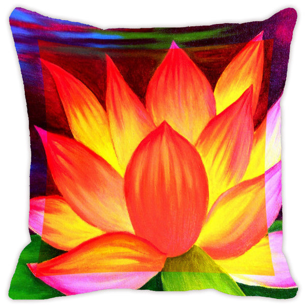 Leaf Designs Flame Orange & Red Flora Cushion Cover - Set Of 2