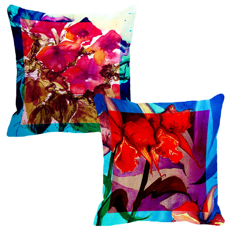 Leaf Designs Ink Blue & Red Flora Cushion Cover - Set Of 2