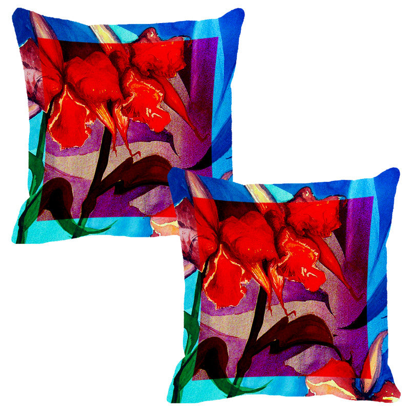 Leaf Designs Bright Blue Flora Cushion Cover - Set Of 2