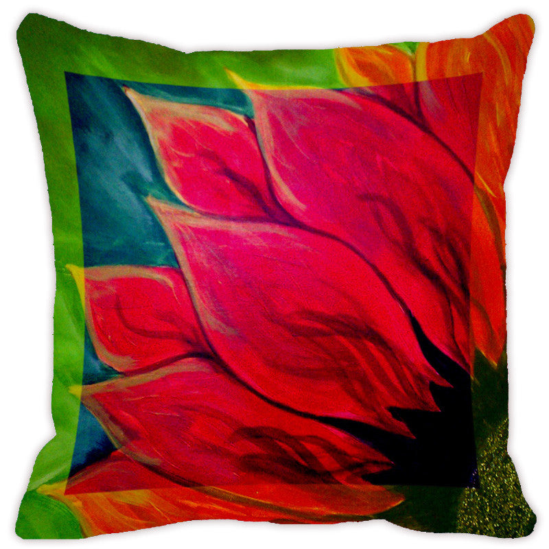 Leaf Designs Red Tones Flora Cushion Cover - Set Of 2