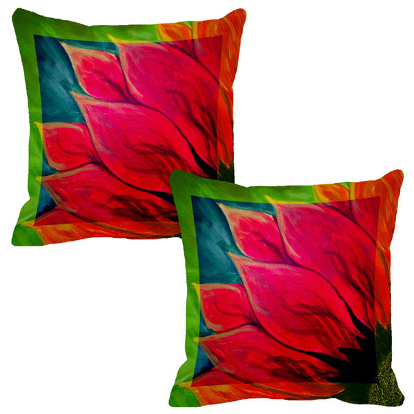 Leaf Designs Fuchsia Flora Cushion Cover - Set Of 2