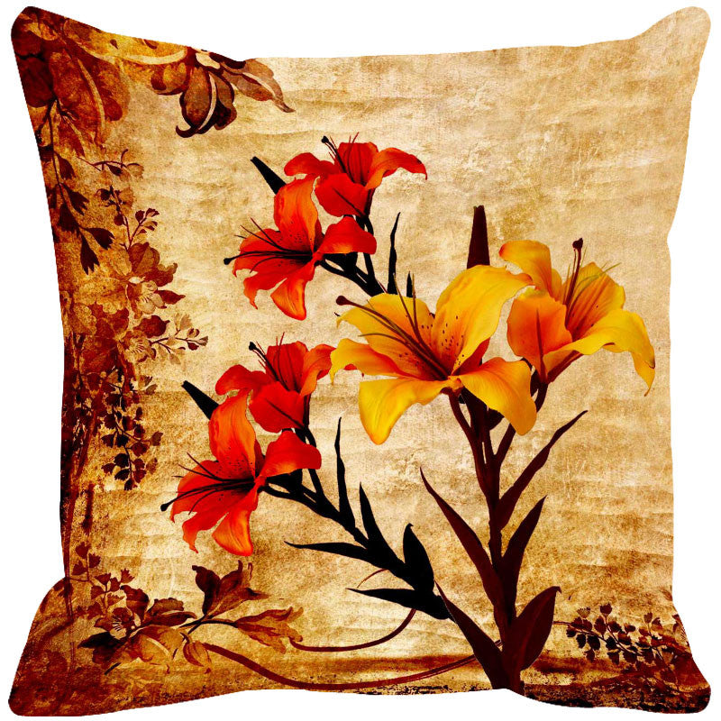 Leaf Designs Red & Lilac Cushion Cover - Set Of 2