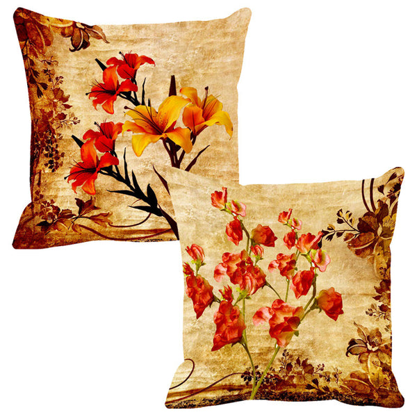 Leaf Designs Yellow & Red Cushion Cover (A) - Set Of 2