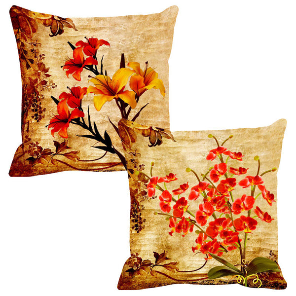 Leaf Designs Double Red Cushion Cover - Set Of 2