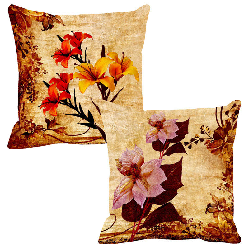Leaf Designs Red & Purple Cushion Cover - Set Of 2