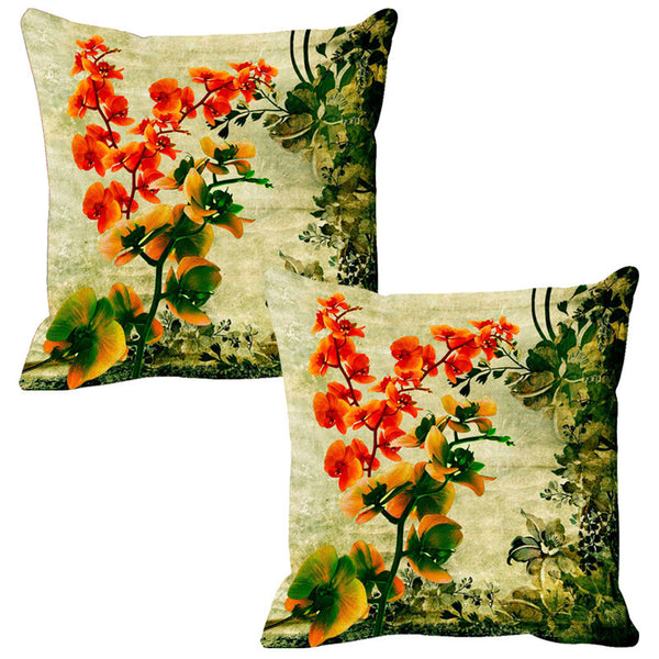 Leaf Designs Green Vintage Cushion Cover - Set Of 2