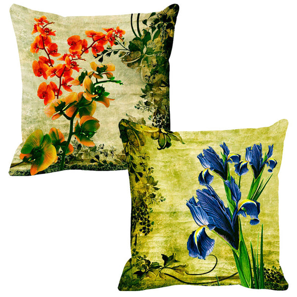 Leaf Designs Red & Blue Cushion Cover (A) - Set Of 2