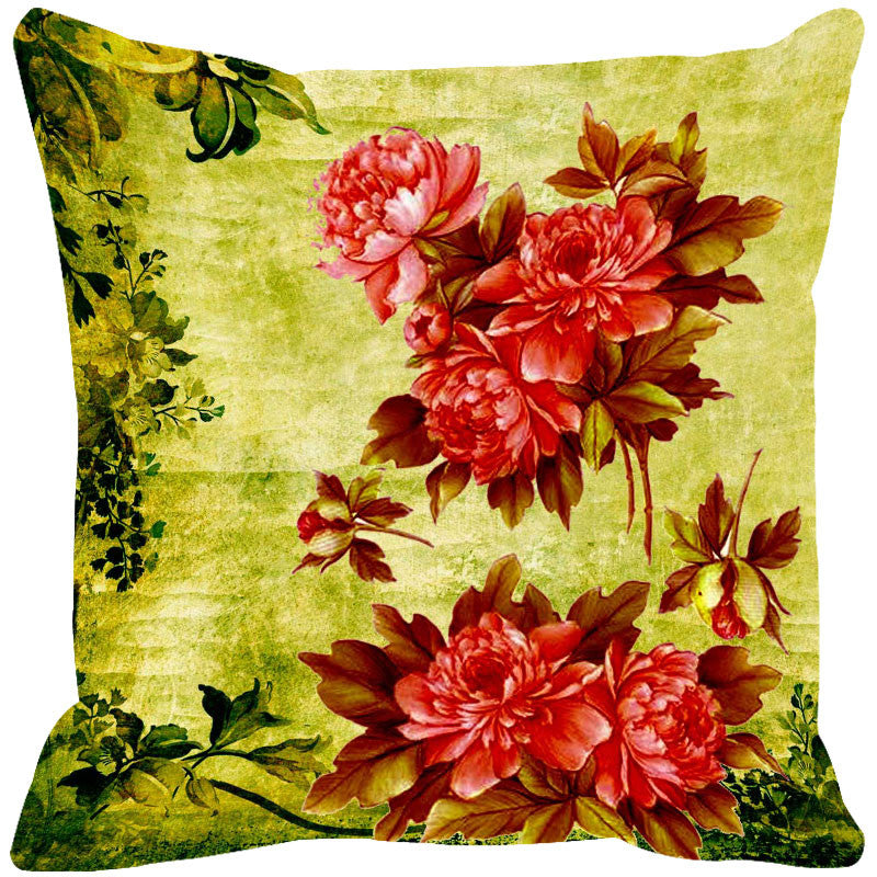 Leaf Designs Red & Brown Cushion Cover - Set Of 2