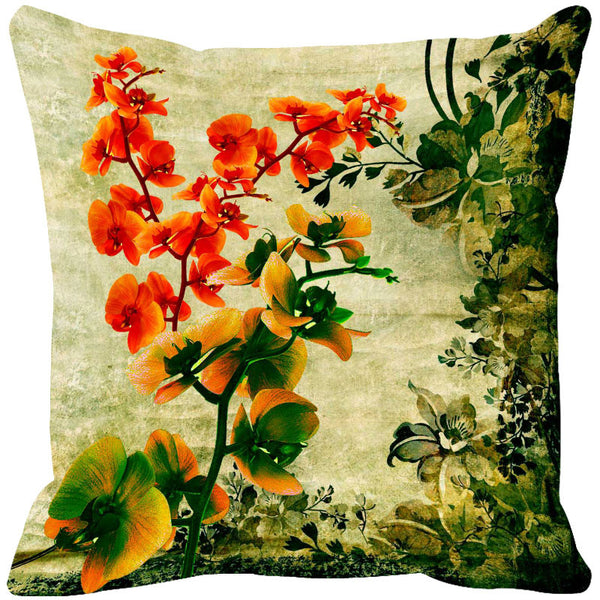 Leaf Designs Yellow & Peach Cushion Cover - Set Of 2