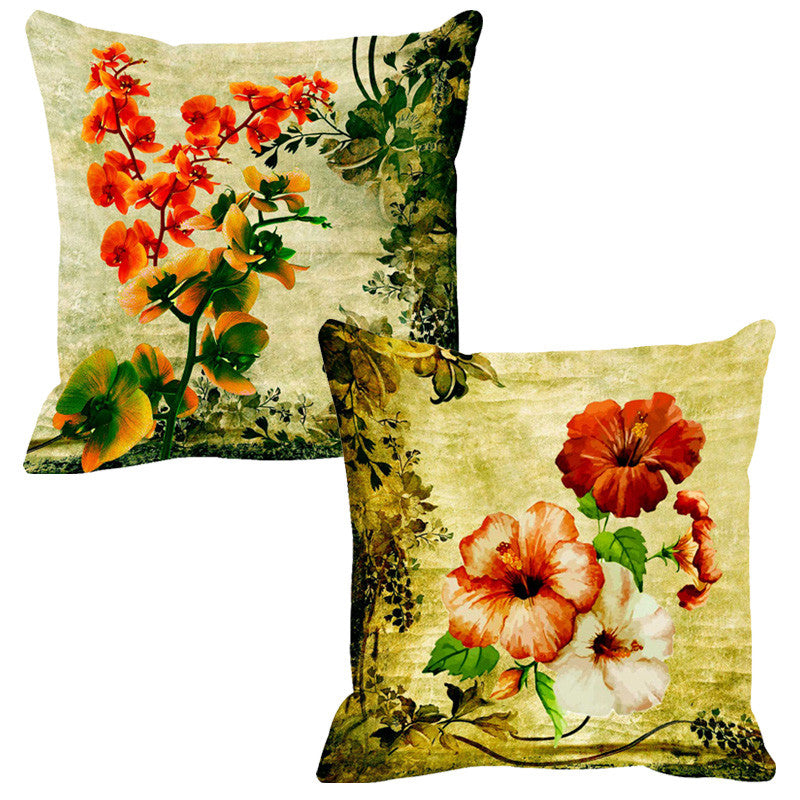 Leaf Designs Green & Red Cushion Cover (A) - Set Of 2