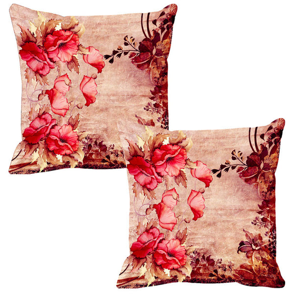 Leaf Designs Red & Pink Vintage Cushion Cover - Set Of 2