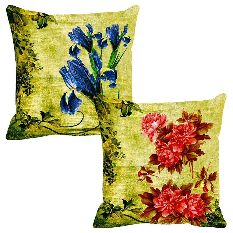 Leaf Designs Blue & Red Cushion Cover - Set Of 2