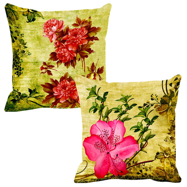 Leaf Designs Brown & Pink Cushion Cover - Set Of 2