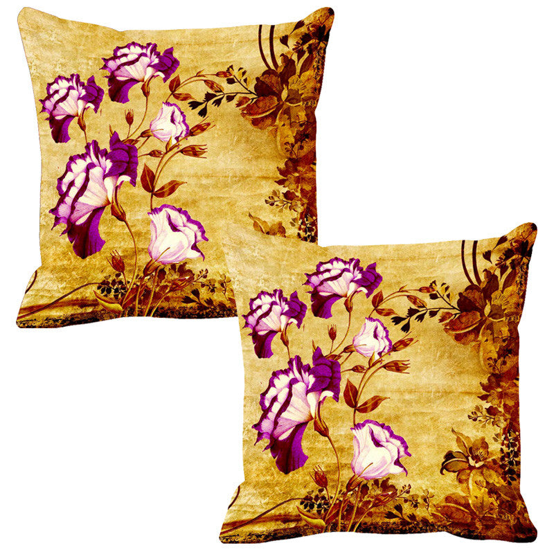 Leaf Designs Magenta & Yellow Vintage Cushion Cover - Set Of 2